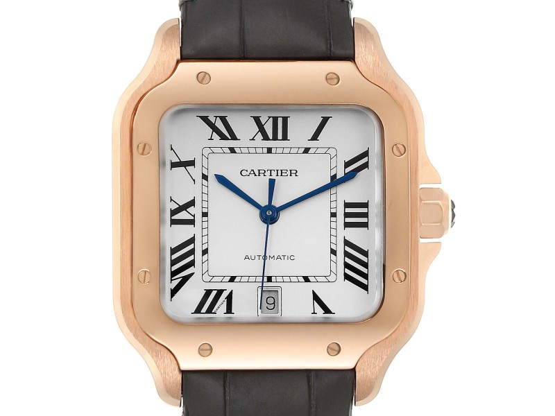 Cartier Santos 100 XL Rose Gold Silver Dial Mens Watch WGSA0007 Unworn