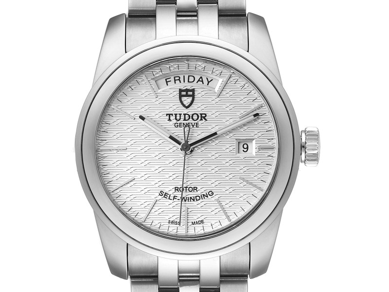 Tudor Glamour Day Date Steel Silver Dial Mens Watch 56000 Card