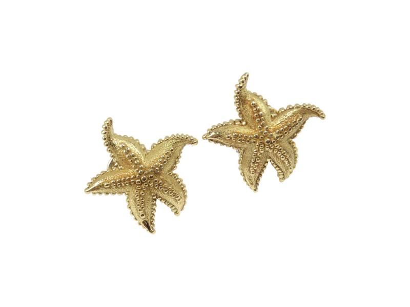 Tiffany & Co. 18K Yellow Gold Textured Starfish Earrings
