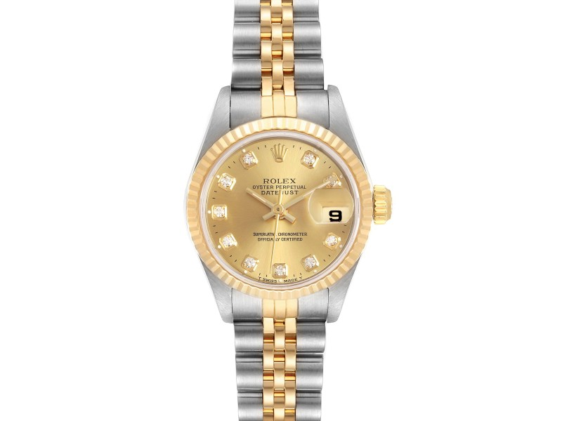 Rolex Datejust 26mm Steel Yellow Gold Diamond Ladies Watch 69173