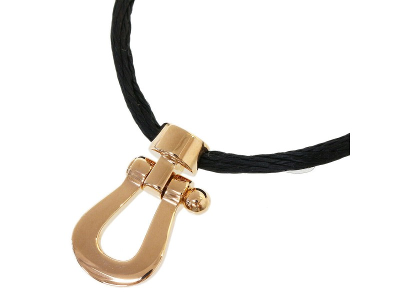 FRED 18k Rose Gold  Force 10 Pendant Cord Necklace