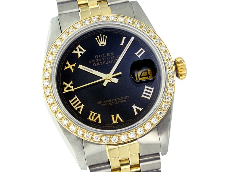 Rolex Datejust Two Tone Black Roman Dial & Diamond Bezel 36mm Mens Watch