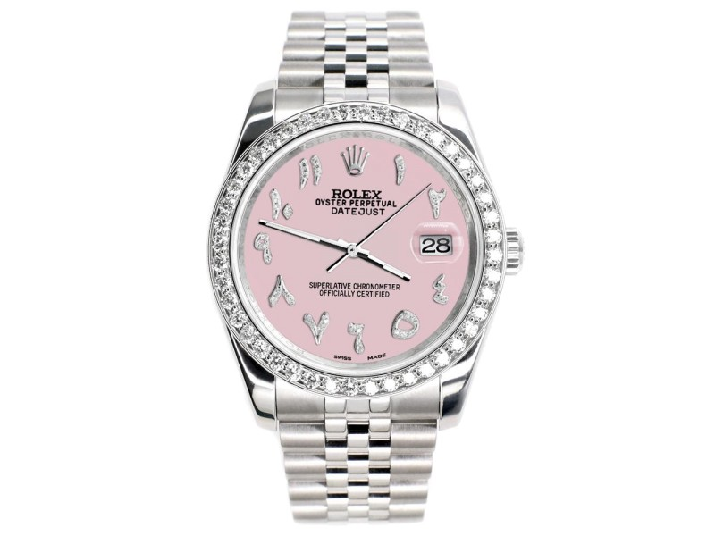 Rolex Datejust 116200 36mm 2.0ct Diamond Bezel/Orchid Pink Diamond Arabic Dial Steel Watch