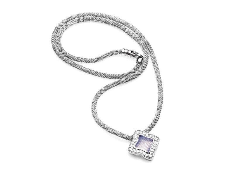 David Yurman 18K White Gold Chalcedony Diamond Necklace