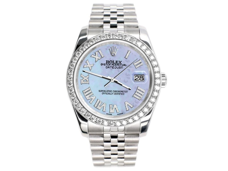 Rolex Datejust 116200 36mm 2.0ct Diamond Bezel/Pink Pearl Diamond Roman Dial Steel Watch
