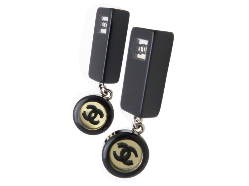 Chanel Inlaid CC Logo Drop Pierce Earrings Black Plastic