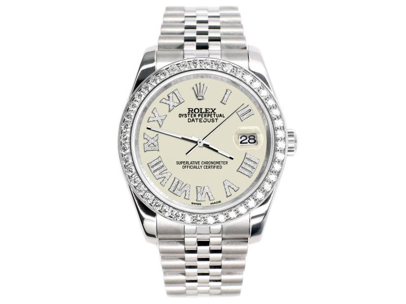 Rolex Datejust 116200 36mm 2.0ct Diamond Bezel/Linen White Diamond Roman Dial Steel Watch