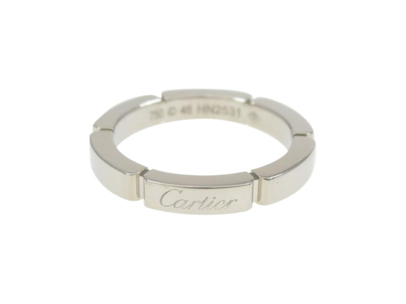 Cartier 18K White Gold Maillon Panther Ring Size 3.5