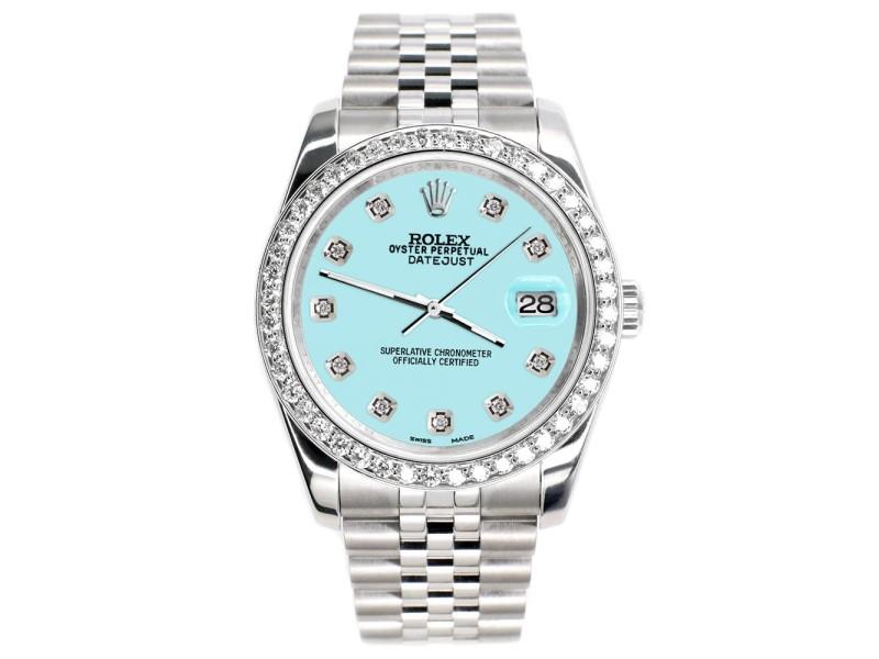 Rolex Datejust 116200 36mm 1.85ct Diamond Bezel/Aqua Blue Diamond Dial Steel Watch