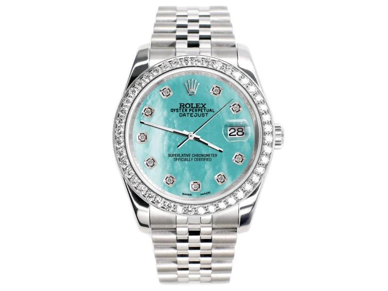 Rolex Datejust 116200 36mm 1.85ct Diamond Bezel/Aquamarine MOP Diamond Dial Steel Watch