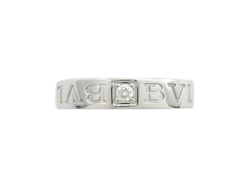 Bulgari 18K White Gold Double Logo Ring