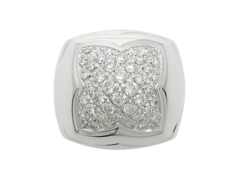 Bulgari 750 White Gold and Diamond Piramide Ring Size 5.75