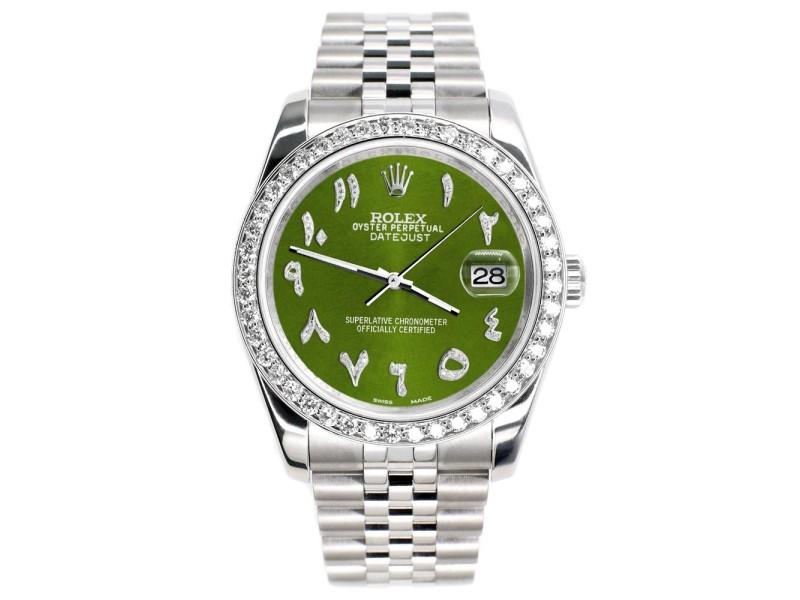 Rolex Datejust 116200 36mm 2.0ct Diamond Bezel/Royal Green Diamond Arabic Dial Steel Watch