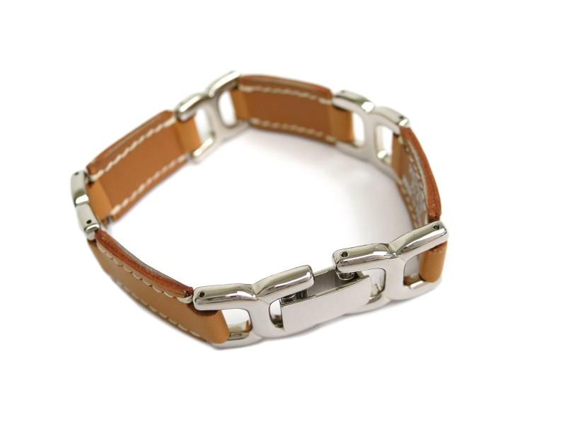 Hermes Leather and Palladium Bracelet