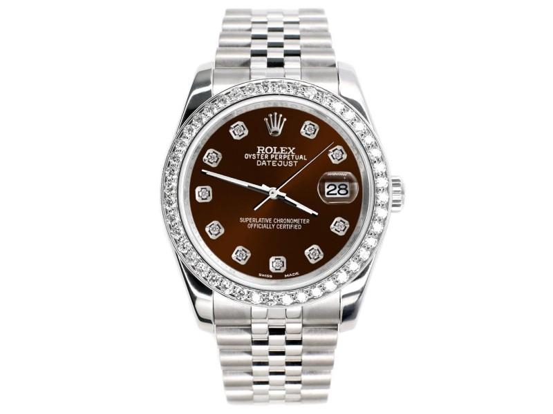 Rolex Datejust 116200 36mm 1.85ct Diamond Bezel/Chocolate Diamond Dial Steel Watch