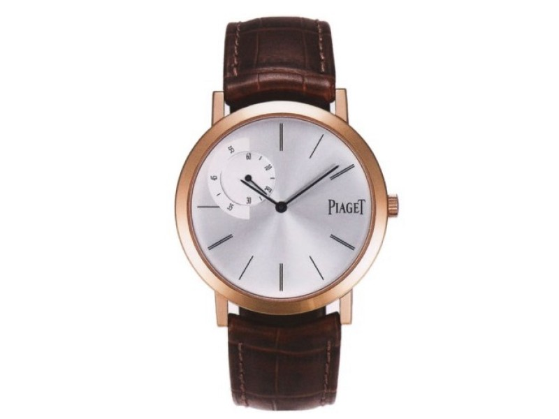 Piaget Altiplano Mechanical Silver Dial Brown Leather Watch