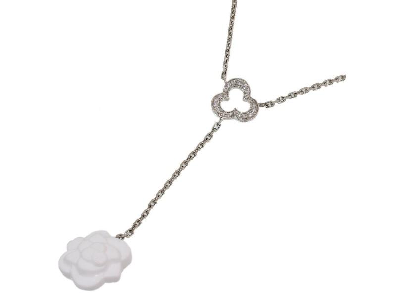 Chanel Pave Diamonds Calcedony Camellia Necklace Pendant