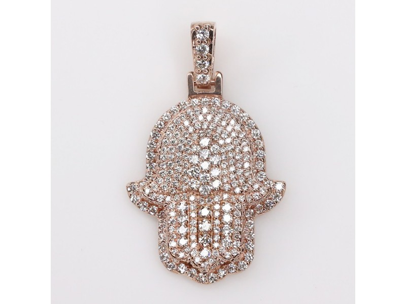 14K Rose Gold 2.1ct Diamond Hamsa Pendant