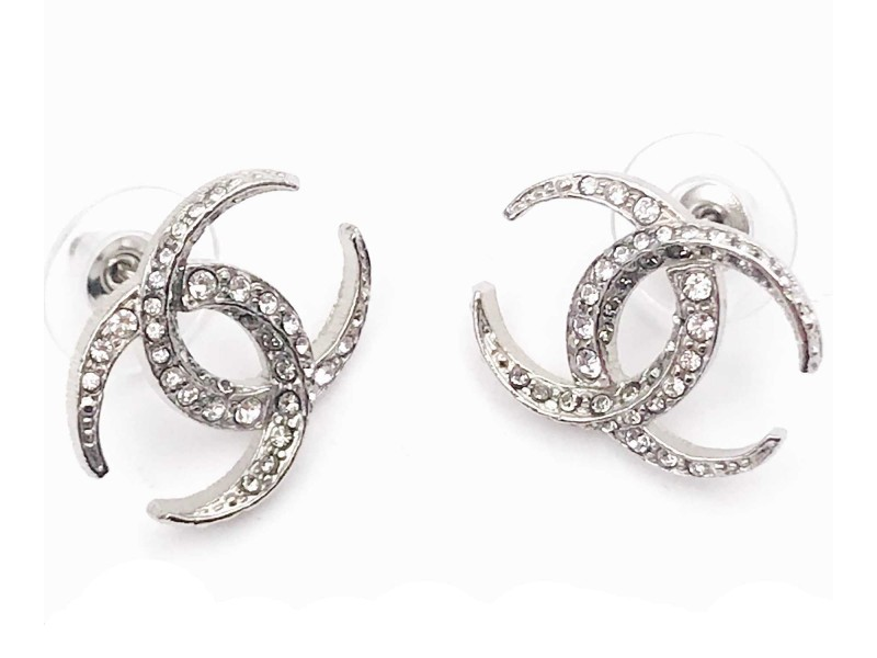 Chanel Silver Tone Hardware with Moonlight Crystal CC Earrings