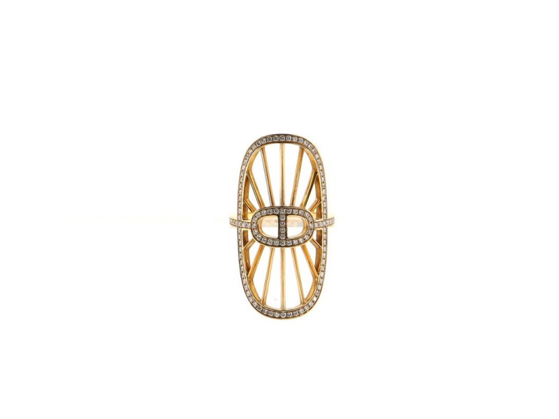 Hermes Chaine D'ancre Oval Ring 18K Yellow Gold and Diamonds 6.25 - 53