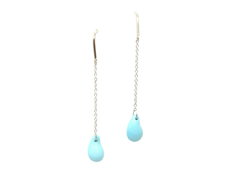 Tiffany & Co. Peretti Sterling Silver and Turquoise Teardrop Dangle Earrings