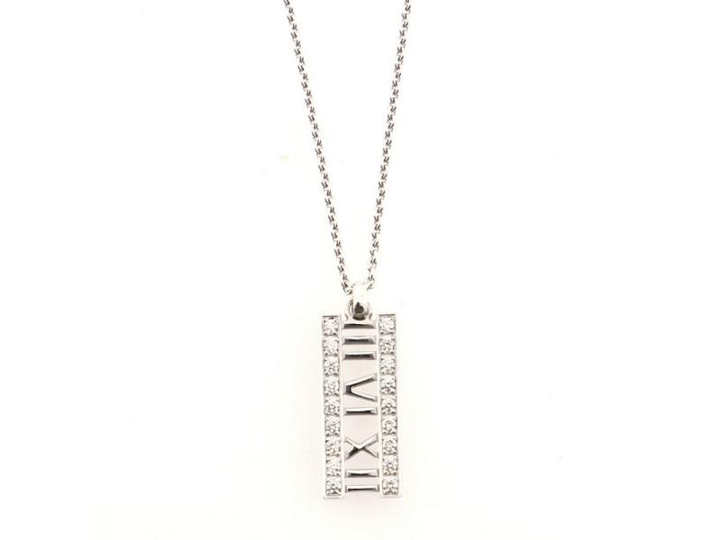 Tiffany & Co. Atlas Open Bar Pendant Necklace 18K White Gold with Diamonds