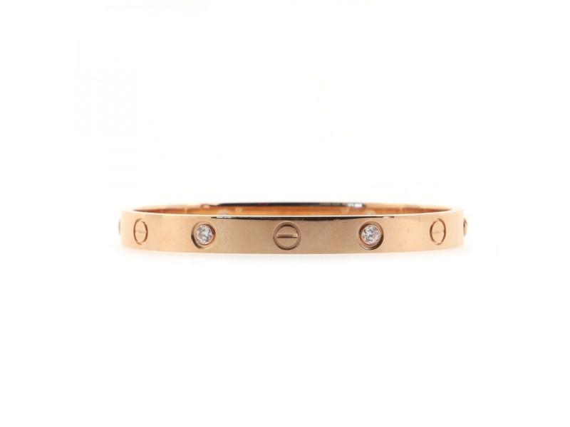 Cartier Love 4 Diamonds Bracelet 18K Rose Gold with Diamonds