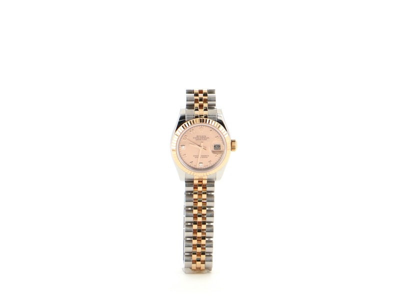 Rolex Oyster Perpetual Datejust Automatic Watch Stainless Steel and Everose Gold with Diamond Indicators and Mother of Pearl 26
