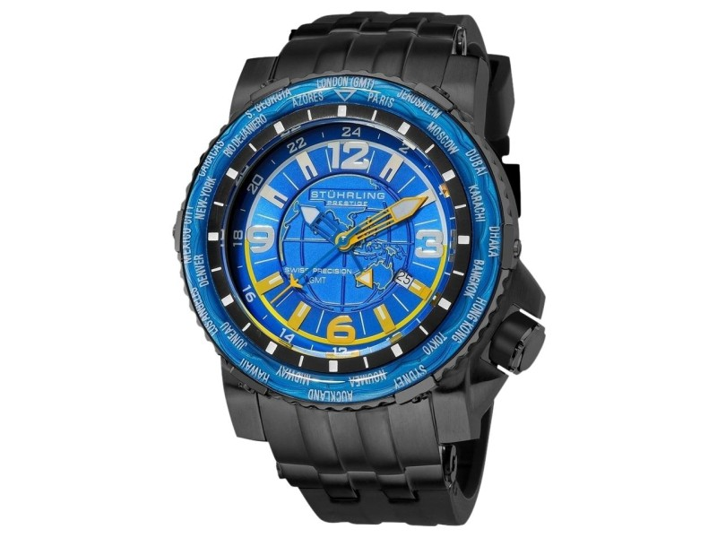 Stuhrling Prestige Marine World Timer 319177-50 Stainless Steel & Rubber 50mm Watch