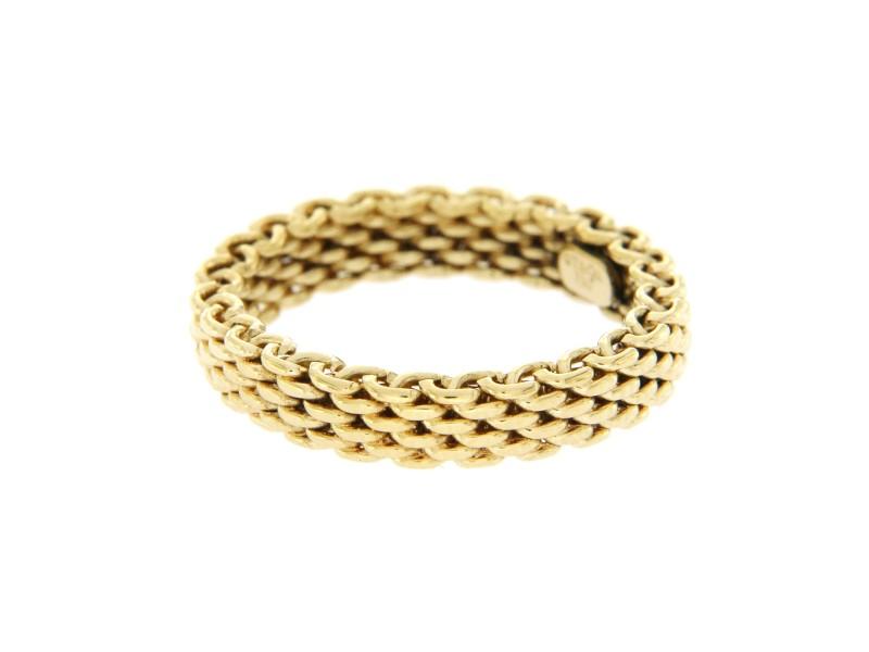 Tiffany & Co. 18K Yellow Gold Somerset Narrow Mesh Band Ring Size 5