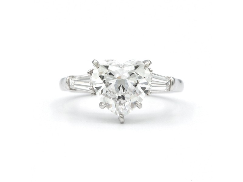Graff Platinum with 2.56ct Heart Shaped Ring Size 5.75