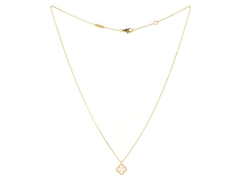 Van Cleef & Arpels Sweet Alhambra Pendant Necklace 18K Yellow Gold and Mother of Pearl