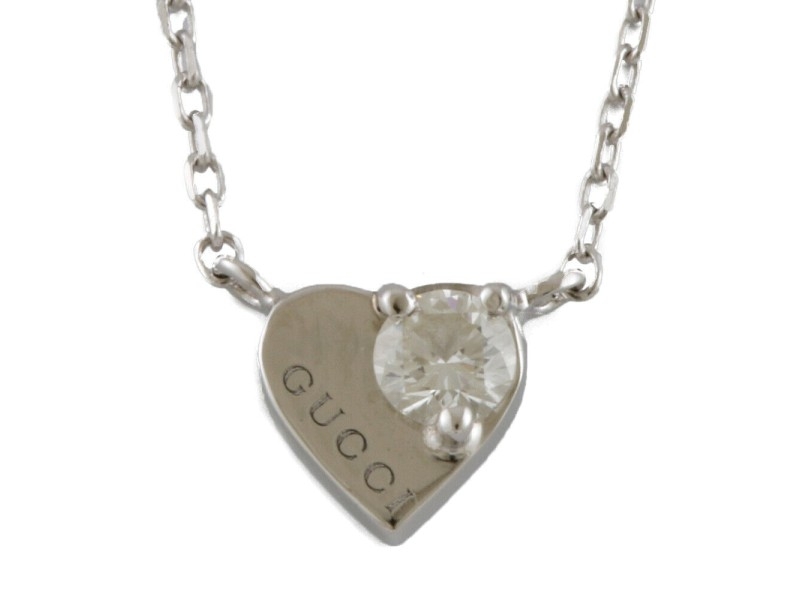 GUCCI 18K white gold diamond Heart Necklace