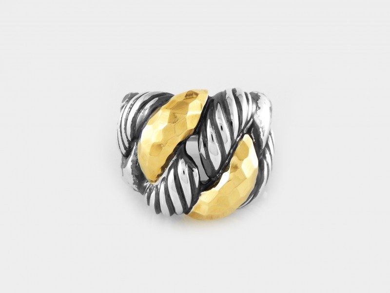 David Yurman Cordelia Hammered with Gold Ring