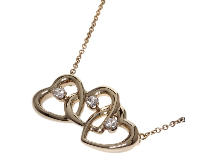 Tiffany & Co. 18K Yellow Gold Triple Heart Diamond Necklace
