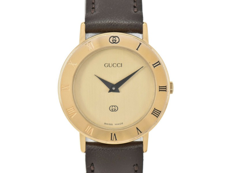 GUCCI 3000L gold Dial Gold Plated/Leather Quartz Ladies Watch