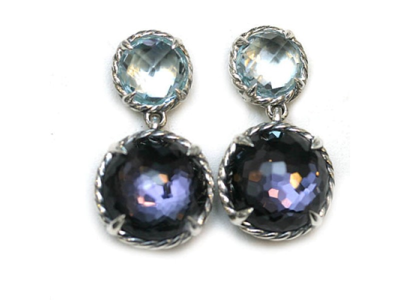 David Yurman 925 Sterling Silver with Black Orchid and Blue Topaz Double Drop Earrings