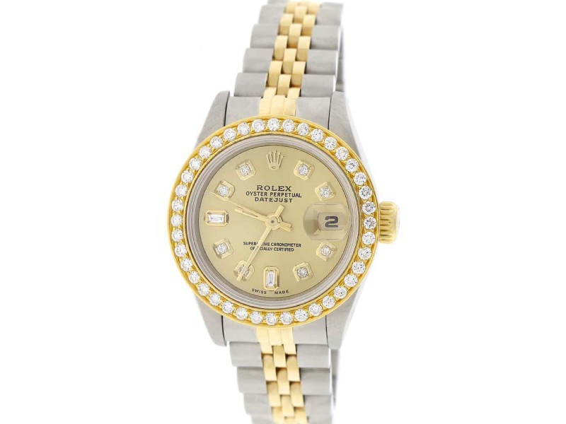 Rolex Datejust Ladies 2-Tone 18K Gold/SS 26mm Jubilee Watch with Champagne Diamond Dial & Bezel