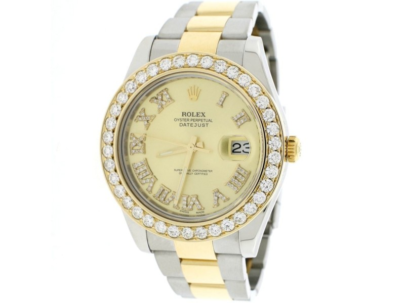 Rolex Datejust II 2-Tone 18K Yellow Gold & Stainless Steel 41MM Automatic Mens Oyster Watch w/Diamond Roman Dial & 4.0Ct Bezel 116333