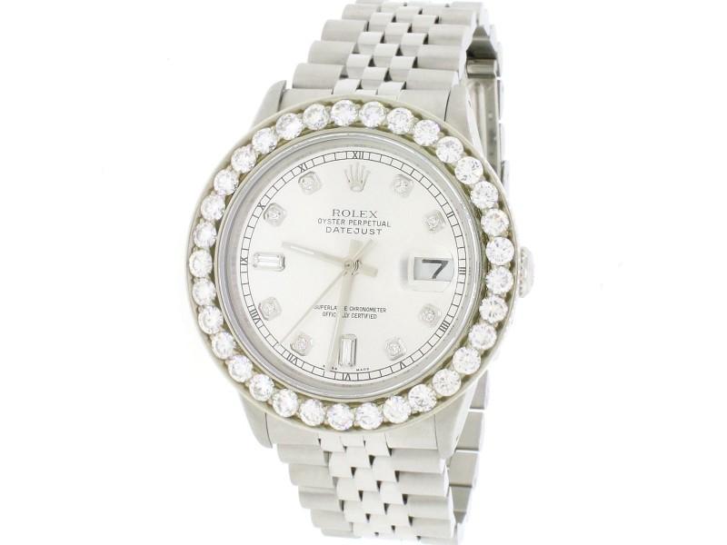 Rolex Datejust 36mm SS Automatic Jubilee Watch w/Silver Diamond Dial & 3.95Ct Bezel