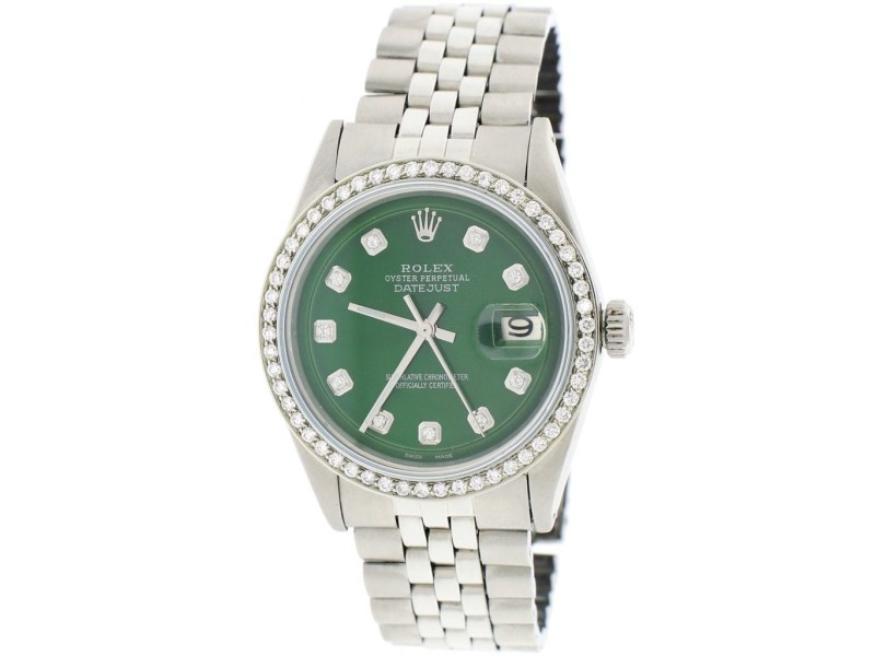 Rolex Datejust 36MM Automatic Stainless Steel Jubilee Mens Watch w/Forest Green Diamond Dial & Bezel