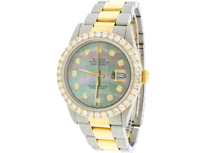 Rolex Datejust 2-Tone 18K Yellow Gold/Stainless Steel Oyster Watch 36MM w/Tahitian MOP Diamond Dial & 2.7CT Bezel