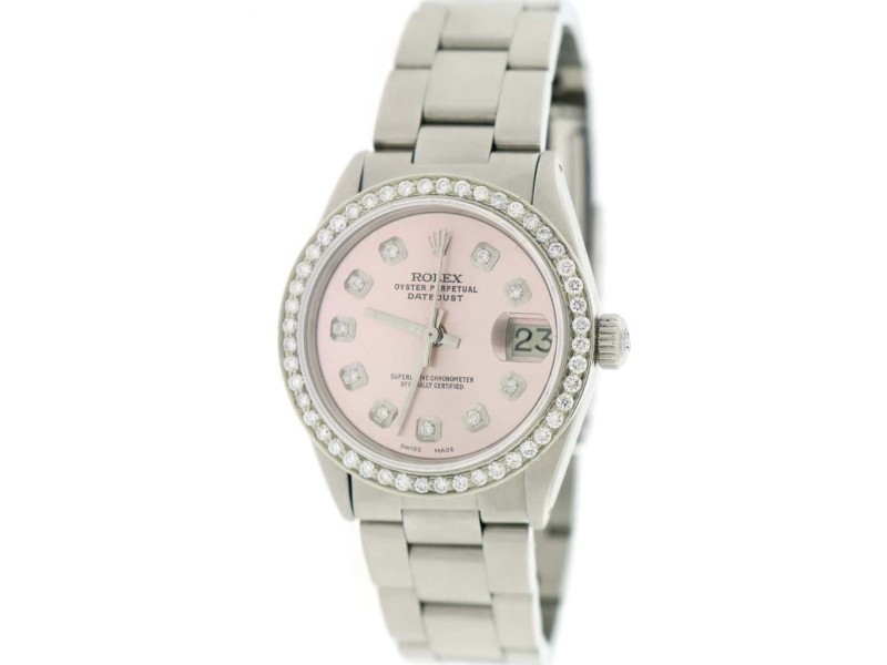 Rolex Datejust Midsize 31mm Automatic Steel Oyster Watch w/Coral Pink Dial & Diamond Bezel