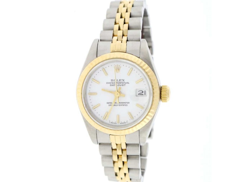 Rolex Datejust Ladies 2-Tone 18K Yellow Gold/Steel 26MM Original White Index Dial Jubilee Watch 69173