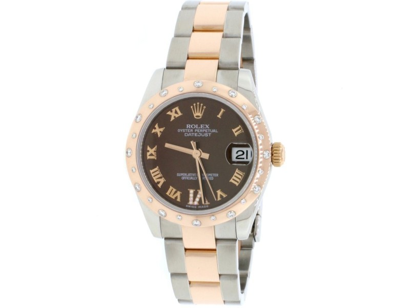 Rolex Datejust 31MM Rose Gold/Steel Watch With Factory Diamond Domed Bezel/Chocolate Roman Dial 178341 Box Papers