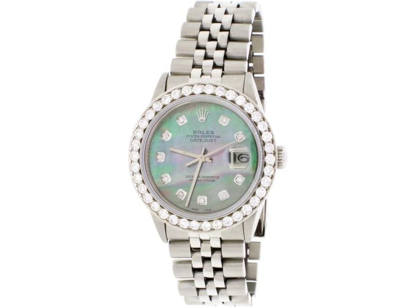 Rolex Datejust 36MM Automatic Stainless Steel Jubilee Mens Watch w/Tahitian MOP Diamond Dial & 2.70Ct Bezel
