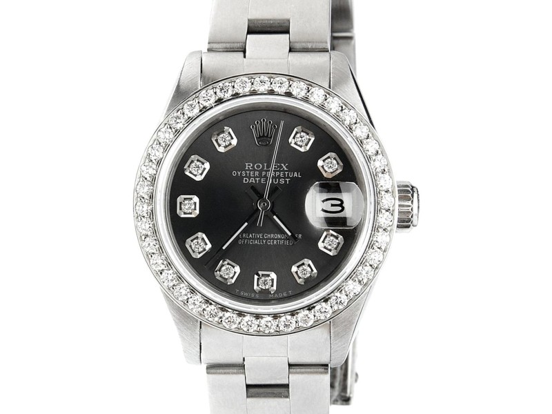 Rolex Datejust Ladies Automatic Stainless Steel 26mm Oyster Watch w/Black Raven Dial & Diamond Bezel