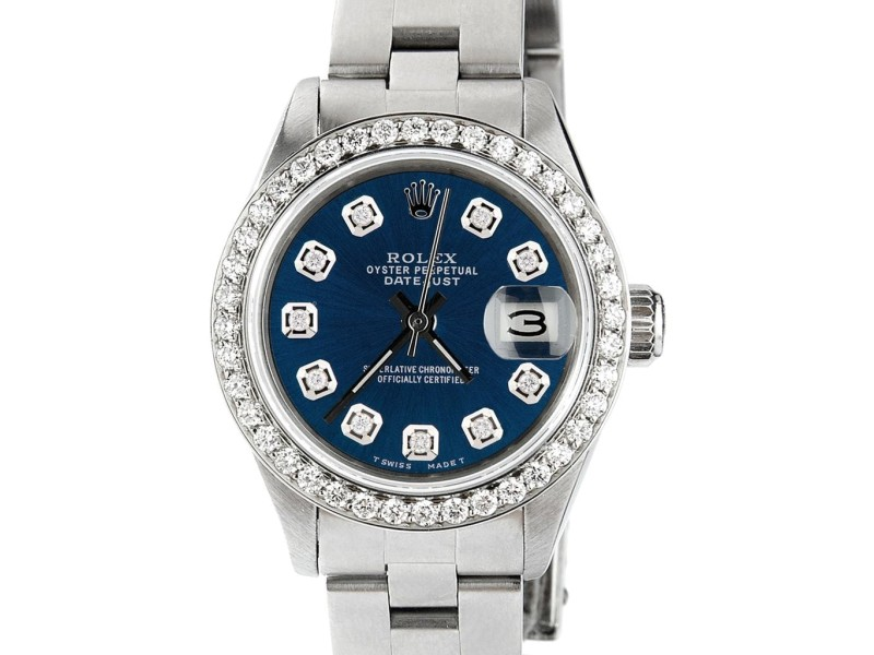 Rolex Datejust Ladies Automatic Stainless Steel 26mm Oyster Watch w/Peacock Blue Dial & Diamond Bezel