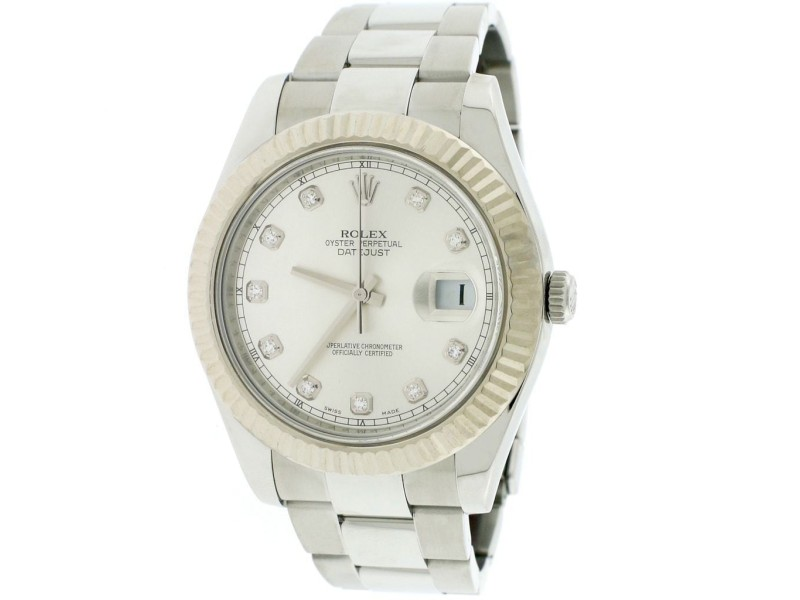 Rolex Datejust II Factory Diamond Dial 41MM Oyster Watch 116334 Box Papers