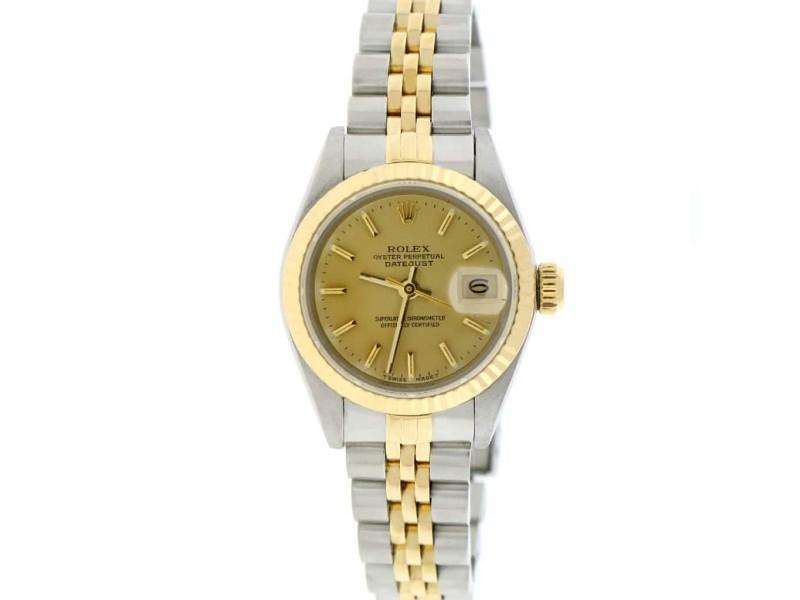 Rolex Datejust Ladies 2-Tone 18K Yellow Gold/Steel 26MM Original Champagne Index Dial Jubilee Watch 69173
